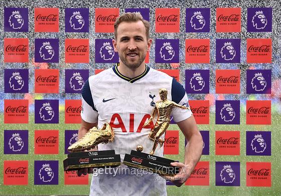 지난 2020~21 잉글랜드 프리미어리그(EPL)에서 골든부트 상을 수상한 해리 케인(토트넘). 사진=게티이미지