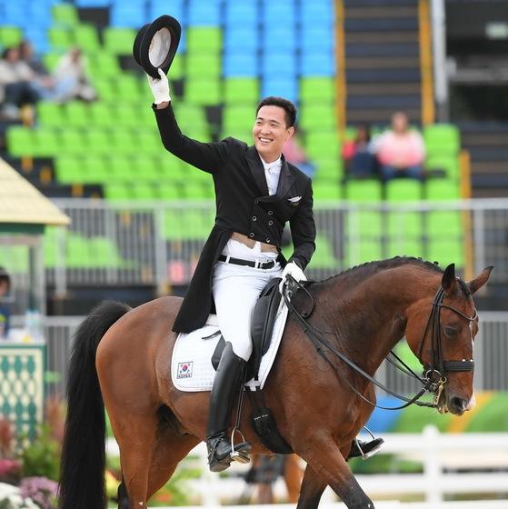 김동선은 2016년 리우올림픽에 한국 승마 마장마술 국가대표로 출전했다. [중앙포토]