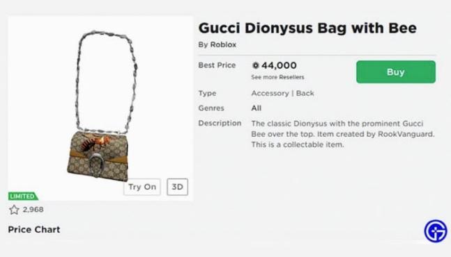 구찌가 로블록스에서 선보인 디오니소스 백이 465만원에 팔렸다. 사진 로블록스