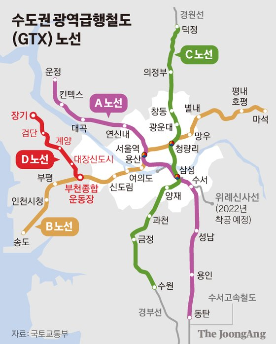 수도권 광역급행철도(GTX) 노선 그래픽 이미지. [자료제공=국토교통부]