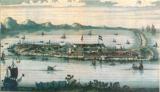 대만을 정복한 네덜란드 동인도회사가 1624년 구축한 젤란디아성. 베이징 상무인서관에서 발간한 『천조략영』(2018)에서. [중앙포토]
