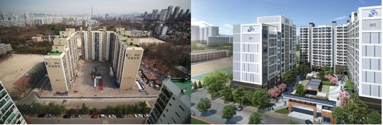 11월 리모델링 준공 예정인 개포우성9차 과거 모습(왼쪽)과 리모델링 후 조감도. 포스코건설