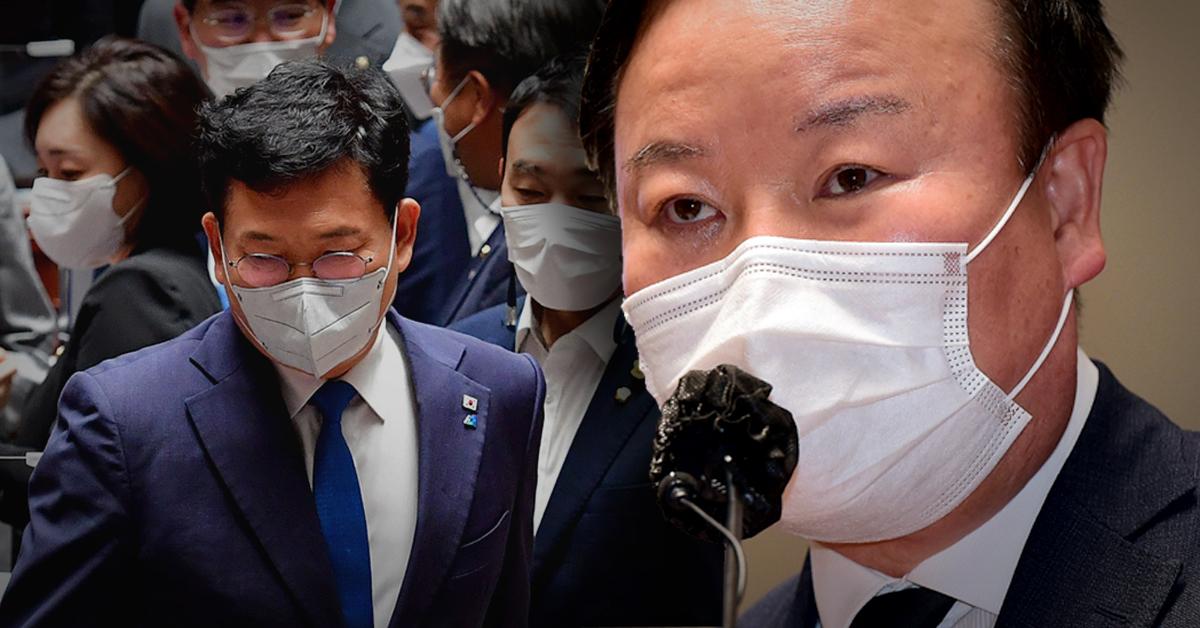 김재원 국민의힘 최고위원(오른쪽)과 송영길 더불어민주당 대표. 중앙포토·뉴스1