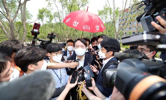 윤석열 전 검찰총장이 지난 6월 9일 오후 서울 중구 남산예장공원 개장식에 참석하고있다. 우상조 기자