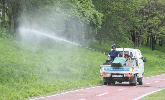 대전시 유성구 만년교 인근 하천에서 유성구보건소 방역기동반 직원들이 방역을 하고 있다. 뉴스1