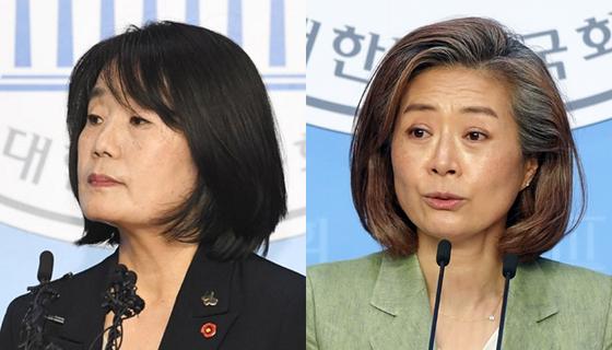 윤미향(왼쪽) 의원과 양이원영 의원. 연합뉴스