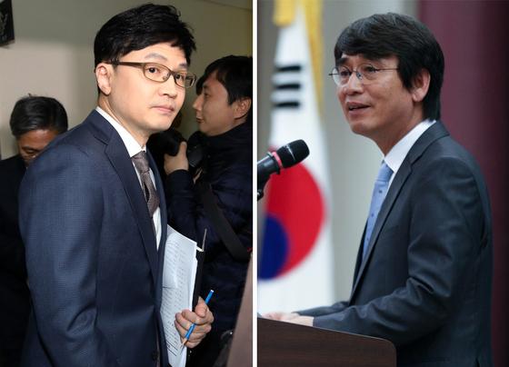 한동훈 검사장(왼쪽)과 유시민 노무현재단 이사장. 뉴스1·연합뉴스