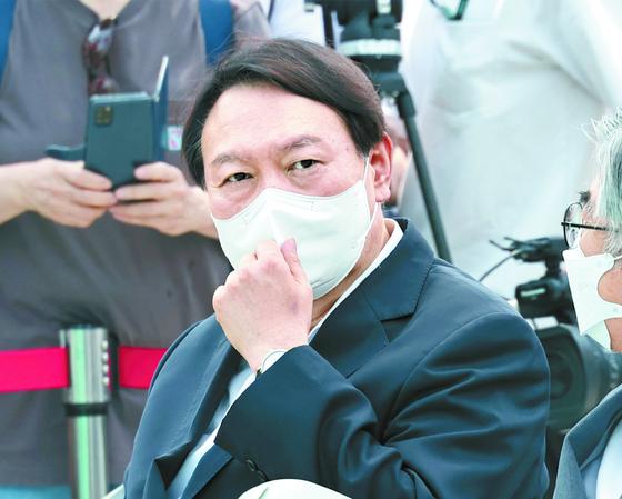 윤석열 전 검찰총장이 9일 오후 서울 남산예장공원 개장식에 참석하고 있다. 연합뉴스