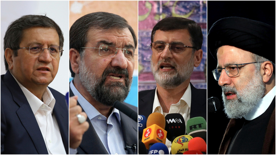 올해 이란 대선에 최종 출마한 4명의 후보. 왼쪽부터 압돌나세르 헤마티, 모흐센 레자에이, 아미르호세인 가지자데-하셰미, 그리고 에브라힘 라이시. AP=연합뉴스