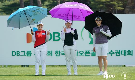 한국여자오픈 챔피언조 선수들. 이번 대회는 전원 한국 선수들이 참가해 한국선수들끼리 우승을 다퉜다. [사진 한국여자오픈 조직위]