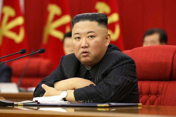 지난 8일 김정은 북한 국무위원장이 중앙위원회 8기 3차 전원회의를 주재하는 모습. [노동신문=연합뉴스]