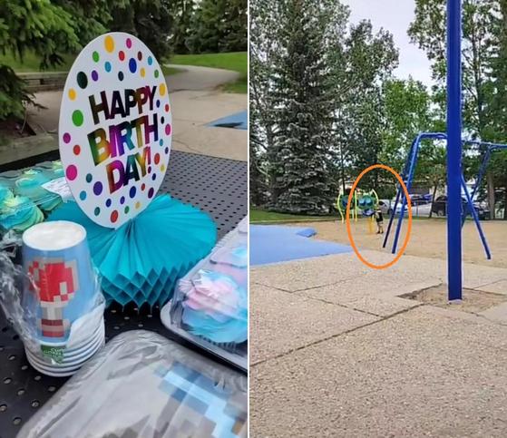 캐나다에서 한 6세 아이가 생일을 맞아 친구 22명을 초청했다. 방역 지침이 완화돼 야외 공원에 음식과 파티 용품을 놓고 파티를 준비했지만, 친구는 한 명도 나타나지 않았다. 오른쪽 사진은 친구들이 오지 않자 상심한 아이가 혼자 노는 모습. [틱톡 캡처]
