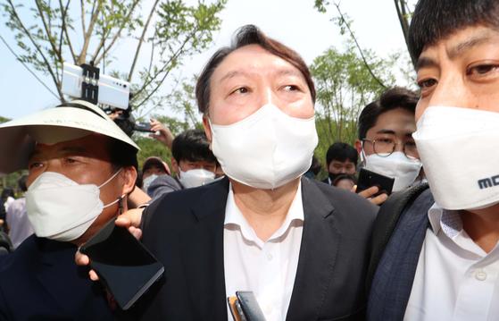 윤석열 전 검찰총장이 지난 6월 9일 오후 서울 중구 남산예장공원 개장식에 참석하고 있다. 우상조 기자