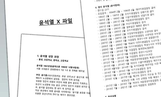 """'열린공감TV'가 23일 """"방송용 취재노트""""라고 한 '윤석열 X파일' 중 일부. [문서 캡처]"""