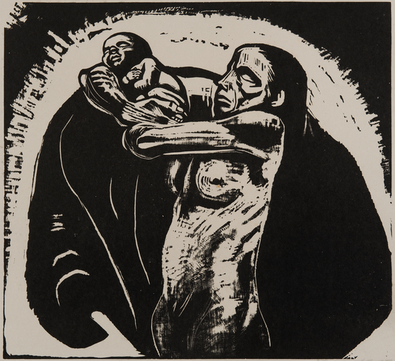 희생, '전쟁' 연작 중에서, 1922, 37.1x 40.2㎝, 목판화. [사진 포도뮤지엄]