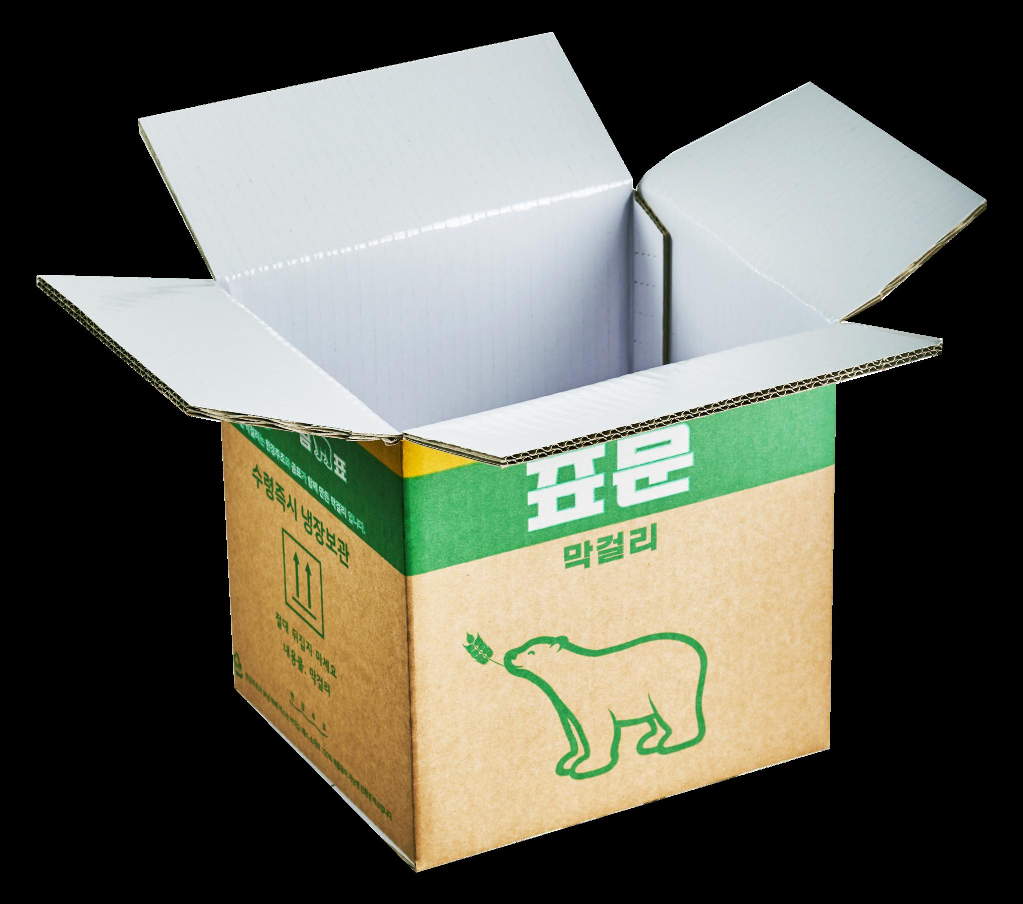 한강주조 표문막걸리는 재활용이 가능한 바이오매스 포장재로 만든 친환경 보냉박스를 사용한다. 한강주조