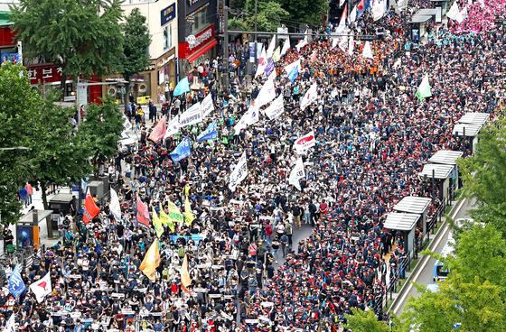 '정부가 말려도' 민주노총 8000명 시위 ... 경찰 수사 착수