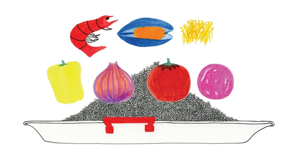 파에야는 신선한 재료가 제일 중요하다. 일러스트 명유미