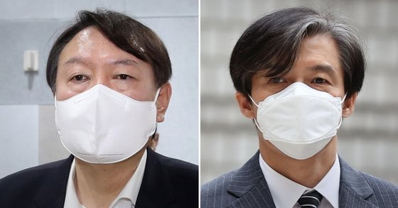 윤석열 전 검찰총장(왼쪽)과 조국 전 법무부 장관. 연합뉴스