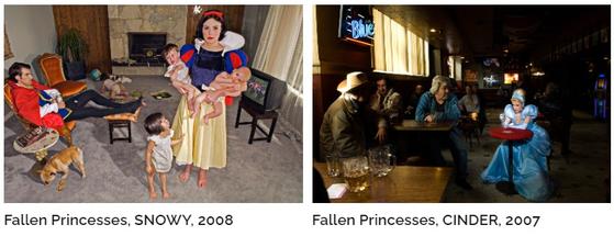 디나 골드스타인이라는 사진작가는 동화속 공주의 결혼 이후의 삶을 상상했다. 백설공주는 육아에 지쳤고, 신데렐라는 알코올중독자가 되었으며, 잠자는 숲속의 공주는 양로원에 가서도 잠만 자는 바람에 남편은 평생 무료한 삶을 보내야 했다는 것이다. [사진 디나 골드스타인 웹사이트]
