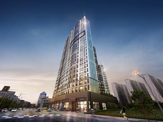 김제 검산 이지움 라프라임 주상복합 아파트 투시도.