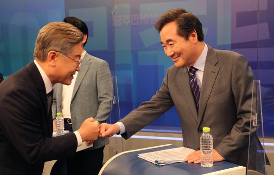 이재명 경기도지사(왼쪽)와 이낙연 전 더불어민주당 대표. 임현동 기자