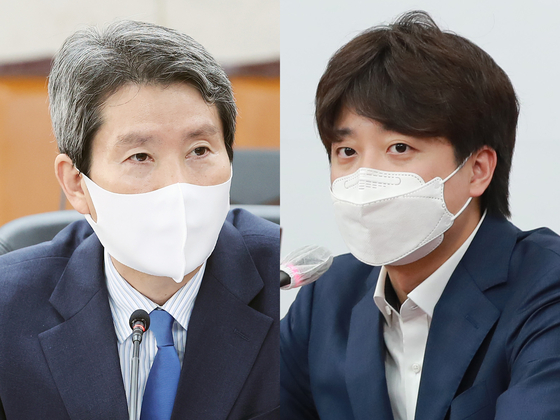 이인영 통일부 장관(왼쪽)과 이준석 국민의힘 대표. 임현동 기자, 뉴스1