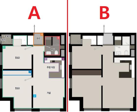 세운지구 42㎡ 아파트와 도시형생활주택 평면도.