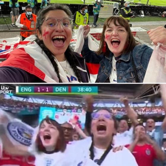 회사에 거짓으로 병가를 내고 잉글랜드와 덴마크와의 유로 2020 준결승전 경기를 관람했다가 직장에서 해고된 니나 파루치의 모습. 인스타그램 캡처