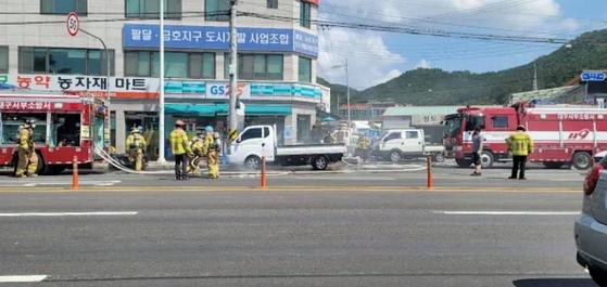 14일 대구에서 현대자동차의 전기트럭 포터 일렉트릭에서 화재가 발생했다. 사진 전기차커뮤니티 게시판 캡처