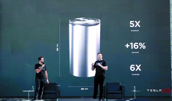 일론 머스크 테슬라 CEO가 지난해 9월 22일(현지시간) 테슬라의 배터리데이에 참석해 배터리 생산 비용절감 방안에 대해 설명하고 있다. [유튜브 캡처]