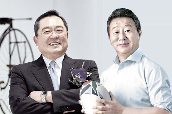 구자열 대한자전거연맹 회장(왼쪽), 최윤 대한럭비협회 회장(오른쪽).
