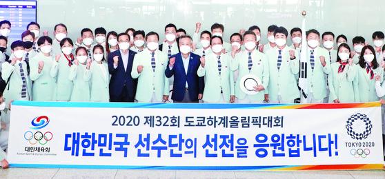 도쿄올림픽 한국 선수단 본진 입성