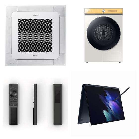 '제24회 올해의 에너지 위너상'에서 수상한 삼성전자 주요 제품들. 윗줄 왼쪽부터 시계 방향으로 '삼성 무풍 시스템에어컨 4Way', '비스포크 그랑데 건조기 AI', '갤럭시 북 프로 360', '솔라셀 리모컨'. [사진 삼성전자]