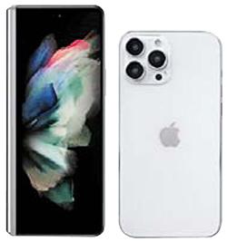 갤럭시Z 폴드3의 예상 이미지(왼쪽)와 아이폰13 모형. [에반 블래스 트위터 캡처, 맥루머스]