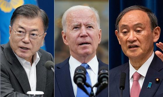 문재인 대통령, 조 바이든 미국 대통령, 스가 요시히데 일본 총리. [중앙포토]