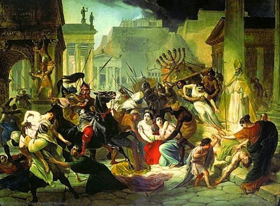 러시아 화가 칼 파블로비치 브률로프가 그린 역사화 '가이세리크의 로마 침략.' 검은 피부의 반달족 병사들이 로마의 부녀자를 유린하는 것으로 묘사했다. 그러나 실제 반달족은 라틴족인 로마 시민보다 피부가 희고 키가 컸다고 한다. 반달족에 대한 편견과 선입견이 드러난 사례로 볼 수 있다. [사진 위키피디아]