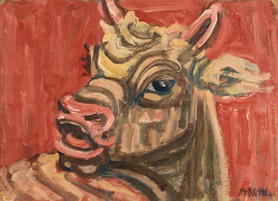 이중섭 (1916-1956), 황소, 1950 년대, 종이에 유채, 26.5x36.7cm.[사진 국립현대미술관]