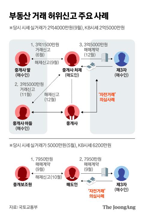 부동산 거래 허위신고 주요 사례. 그래픽=김현서 kim.hyeonseo12@joongang.co.kr