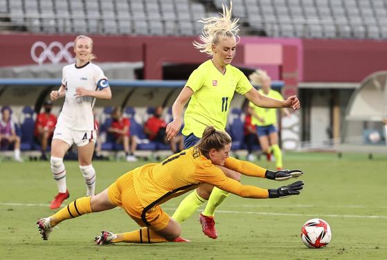 미국 여자 축구대표팀이 도코올림픽 조별리그 첫 경기에서 스웨덴에 덜미를 잡혔다. [연합뉴스]