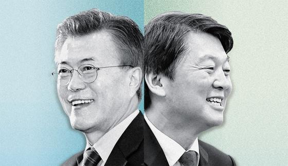 대법원이 21일 2017년 대선 당시 드루킹 김동원씨와 댓글조작을 공모한 혐의를 받는 김경수 전 경남지사의 유죄를 확정했다. 당시 대선에 출마했던 문재인 대통령(왼쪽)과 안철수 국민의당 대표. 중앙포토