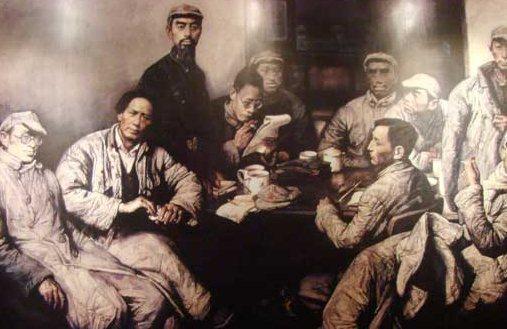 마우쩌둥(왼쪽에서 둘째)를 비롯한 중국 공산당 초기 지도부를 그린 상상화. 사진=위키피디아