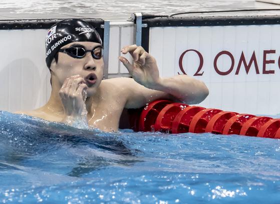 26일 일본 도쿄 수영 센터에서 열린 남자 자유형 100m 준결승에 황선우 선수가 출전했다. 도쿄=올림픽사진공동취재단
