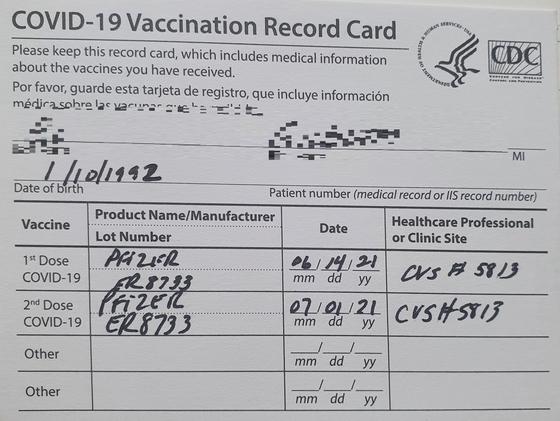 A씨가 미국 출장에서 맞은 화이자 백신접종증명서. A씨 제공