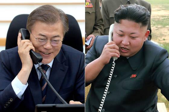 문재인 대통령과 김정은 북한 국무위원장. 연합뉴스
