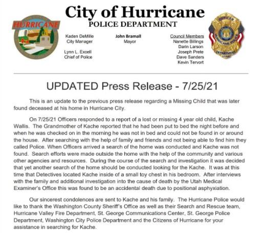 Hurricane City Police, Utah, USA.  Twitter Capture