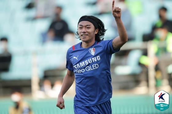 수원 삼성 시절 머리를 길렀던 고승범. 사진 한국프로축구연맹
