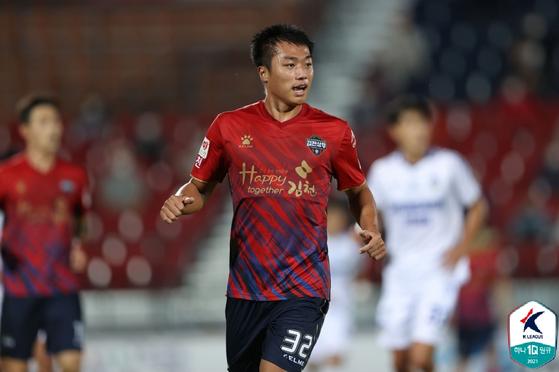 김천 상무에 입대하면서 머리를 짧게 자른 고승범. 사진 한국프로축구연맹