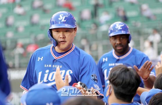 18일 인천 SSG전에서 연타석 홈런을 때려낸 삼성 오재일. IS 포토