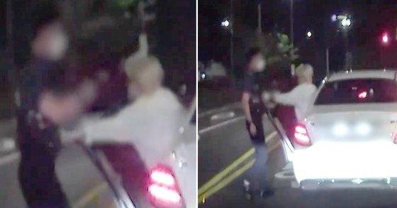 장제원 국민의힘 의원 아들인 래퍼 장용준씨가 음주 측정을 요구한 경찰관을 밀치는 등의 폭행 순간을 담은 블랙박스 영상이 공개됐다. [SBS]